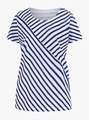 Collection L Shirt - royalblau-weiß-gestreift