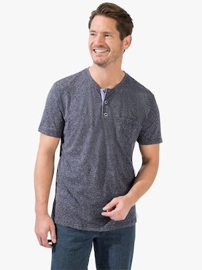Kurzarm-Shirt - blau-meliert