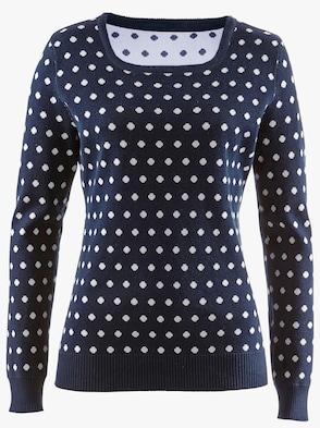 Pullover - marine-weiß-getupft