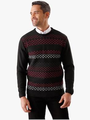 Pullover - zwart/rood gedessineerd