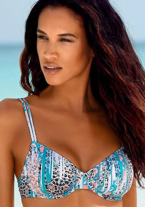 Sunseeker Bügel-Bikini-Top - petrol-bedruckt
