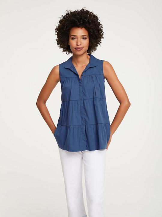 Linea Tesini Bluse - jeansblau
