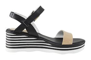 Sandalette - schwarz-weiß