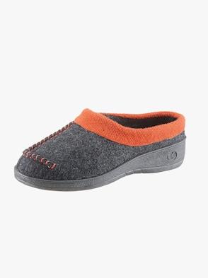 Pantoffel - anthrazit-orange