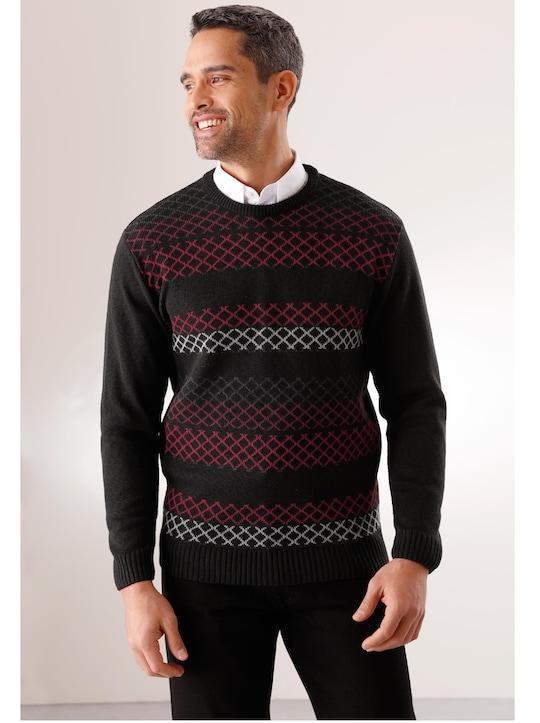 Pullover - schwarz-rot-gemustert