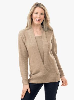 Pullover - goldfarben-meliert