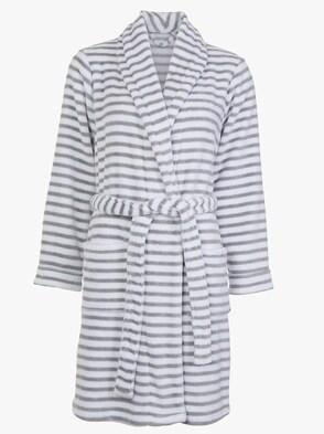 Bademantel - weiß-grau-geringelt