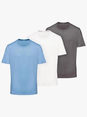 Shirt - anthrazit + blau + weiß