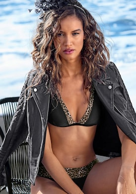 LASCANA Triangel-Bikini-Top - schwarz-leo