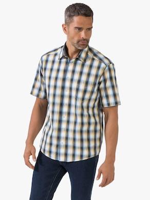Košeľa s krátkymi rukávmi - námornícka modrá a žltá károvaná