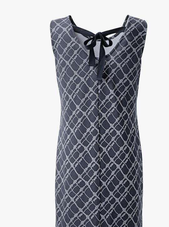 Jersey-Kleid - nachtblau-ecru-bedruckt