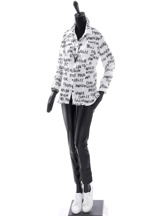 Druckbluse - weiß-schwarz-bedruckt