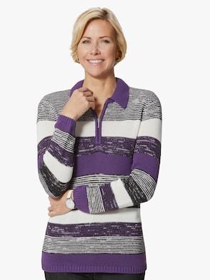 Pullover - lila-geringelt