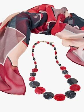 Schal mit Halskette - rot