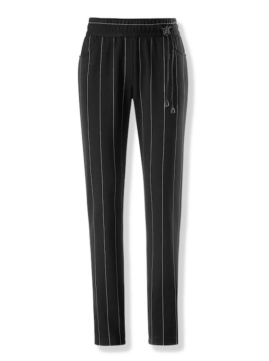 Jogg-Pants - schwarz-ecru-gestreift