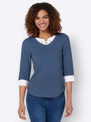 Shirt - jeansblau-weiß