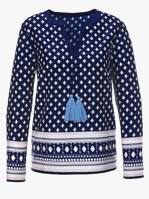 Bluse - nachtblau-bedruckt
