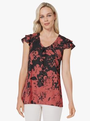 Longline blouse - zwart/grapefruit bedrukt