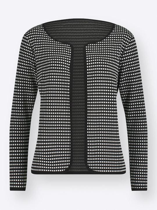 Shirtjacke - schwarz-weiß-gemustert