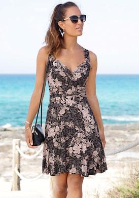 Vivance Jerseykleid - schwarz-rose-bedruckt