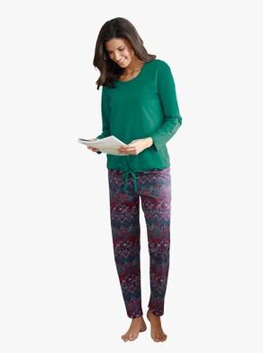 Pyžamo - smaragdová-burgundská-potisk