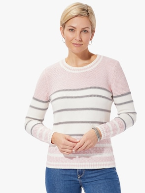 Pullover - rosé-geringelt