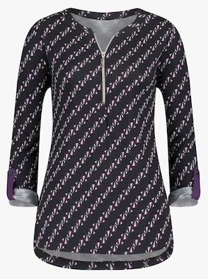 Shirt - schwarz-traube-bedruckt