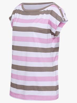 Tričko - růžová-taupe-proužek