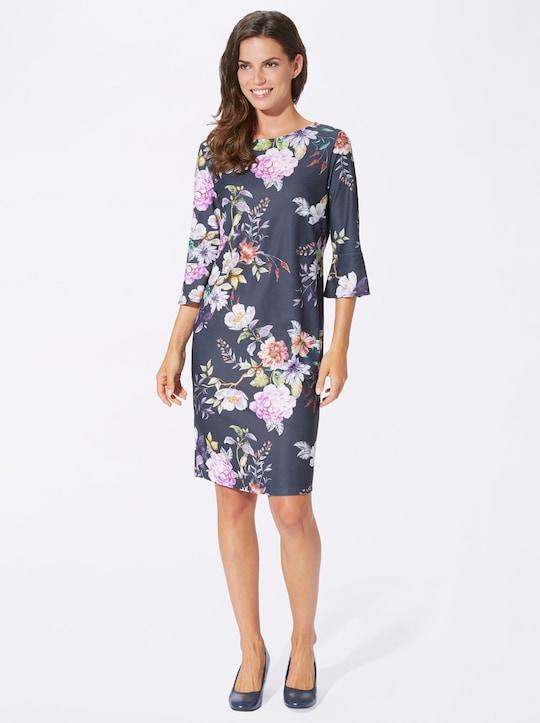 Fair Lady Jersey-Kleid - marine-flieder-bedruckt