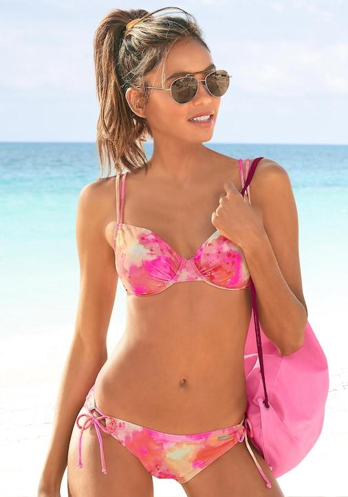 Venice Beach Bügel-Bikini - pink-orange-gelb-bedruckt