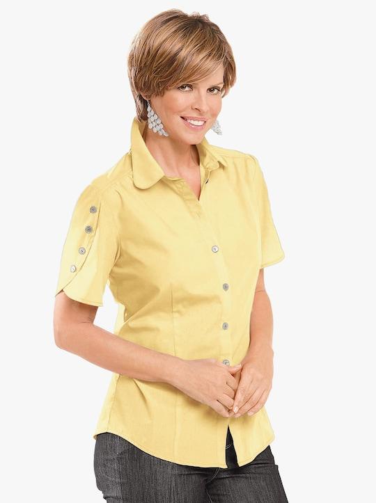 Overhemdblouse - vanillegeel