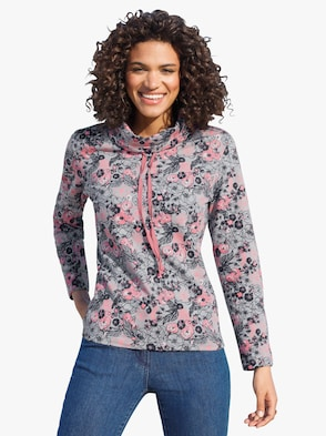 Sweatshirt - rosé-grau-gemustert