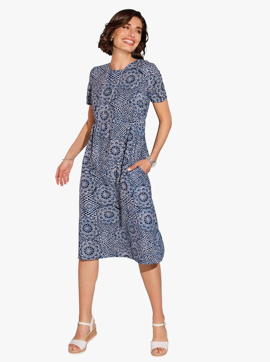 Šaty - nočná modrá-biela