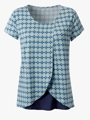 Shirt - kalkmint-weiß-bedruckt