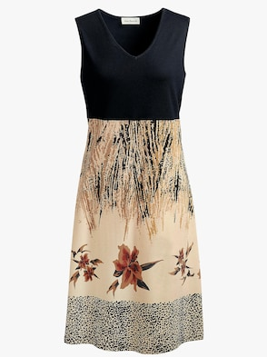 Sommerkleid - schwarz-beige