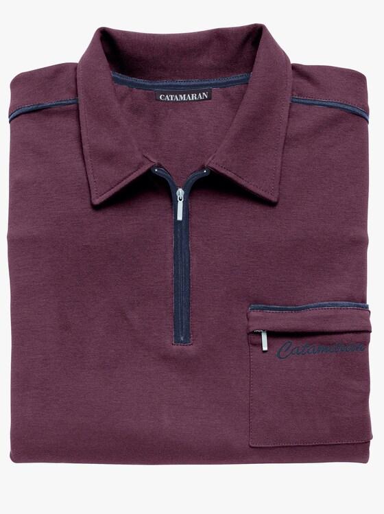 Langarm-Poloshirt - aubergine