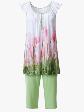 wäschepur Capri-Anzug - weiß-bedruckt