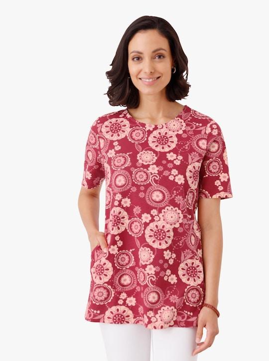 Lang shirt - rood gedessineerd