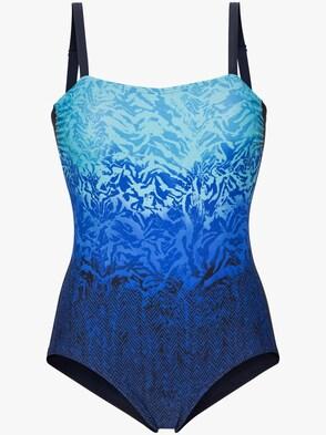 Badeanzug - blau-bedruckt