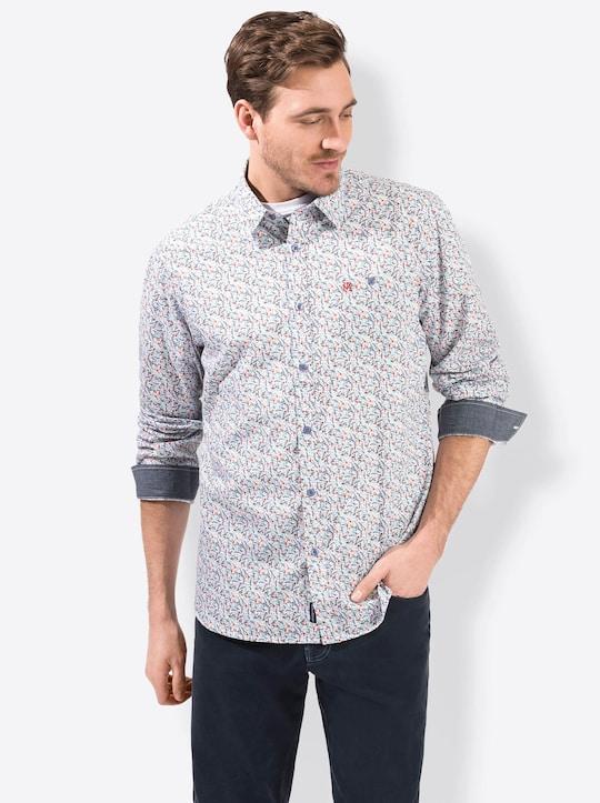 Marco Donati Hemd met lange mouwen - blauw/rood gedessineerd