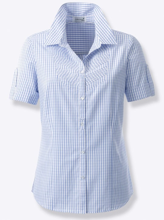 Collection L Bluse - blau-kariert