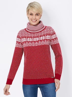 Collection L Pullover - rot-ecru-gemustert