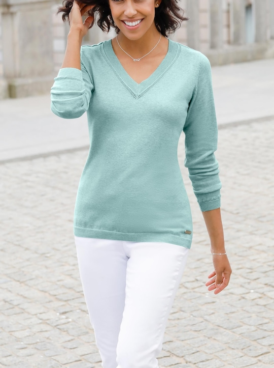 Collection L Pullover - mint-meliert