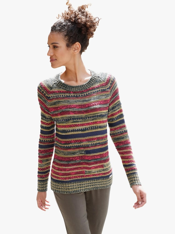 Collection L Pullover - oliv-gemustert