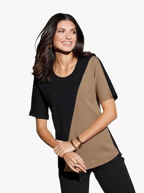 Shirt - camel-schwarz