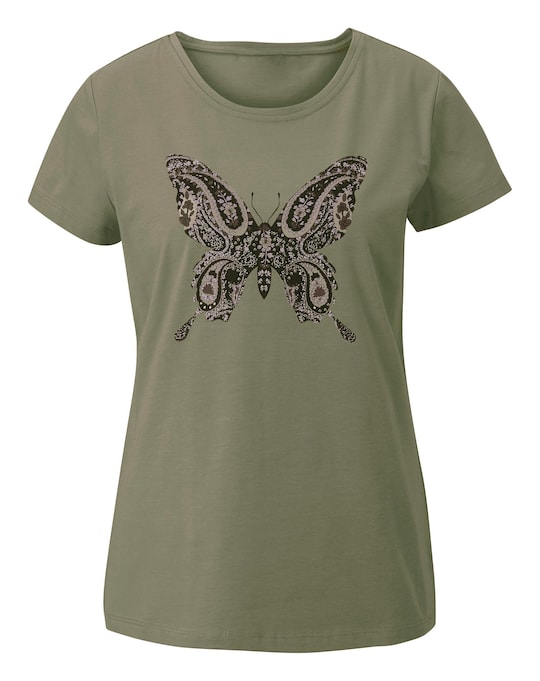 Linea Tesini Druck-Shirt - khaki