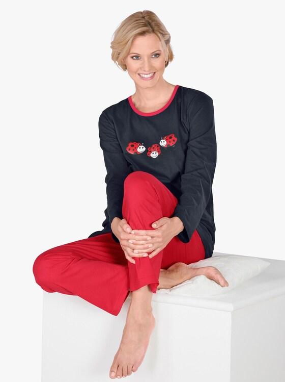 Schlafanzug - schwarz-rot