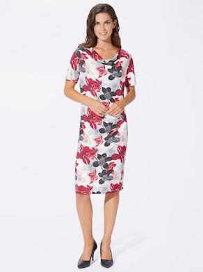 Jersey-Kleid - rot-schwarz-bedruckt