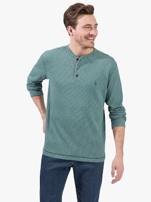 Langarm-Shirt - grün-grau-gestreift