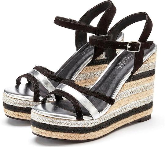 LASCANA High-Heel-Sandalette - schwarz-silberfarben